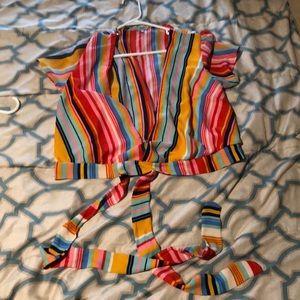 Multi-colored striped crop top